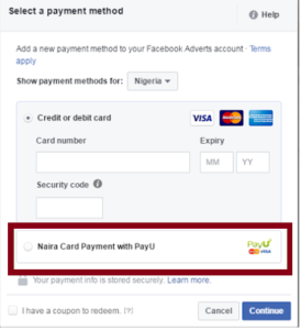 Pay for facebook ads in Nigeria with naira